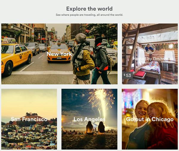 Плиточный дизайн сайта Airbnb