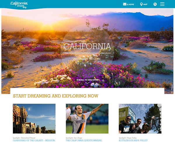 Дизайн сайта путешествий «Калифорния»
